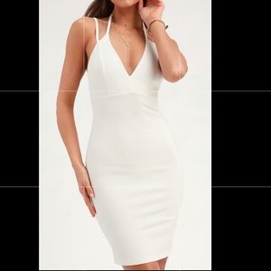 Fully lined, white, midi dress